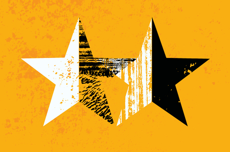 Grunge Stars abstract background with hand drawn brush strokes texture. Retro vector illustration.