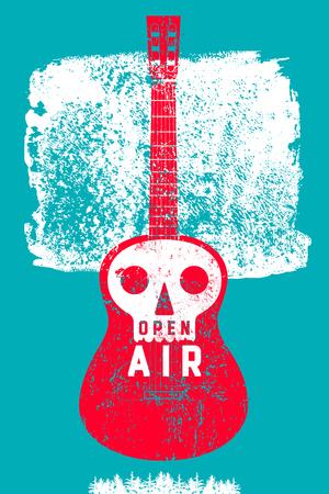 Openluchtfeestje partij typografische vintage stijl grunge posterontwerp. Retro vectorillustratie.