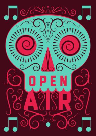Open lucht festival partij kalligrafie vintage stijl posterontwerp. Retro vectorillustratie.