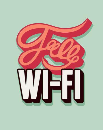 Free Wi-Fi calligraphic vintage poster design. Retro vector illustration. Illustration