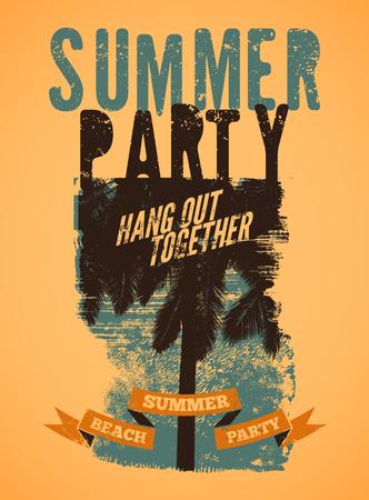 beach party: Summer Beach Party typographic grunge vintage poster design. Retro vector illustration.