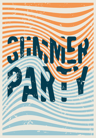 Summer Party typographic vintage grunge postcard with misshapen lines abstract geometric background. Retro vector illustration. Illustration