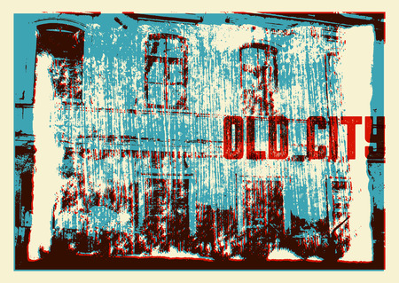 city building: Old City typographic vintage poster design. Old house grunge scratched texture background. Retro vector illustration.