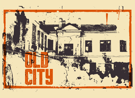 Old City typographic vintage poster design. Old house grunge scratched texture background. Retro vector illustration.