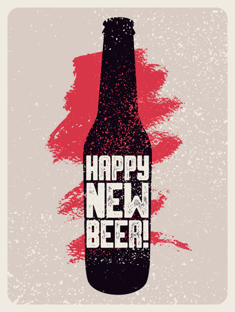 Happy New Beer! Typographic vintage grunge style Christmas card or poster with beer bottle. Retro vector illustration.