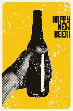 Gelukkig nieuw bier! Typografische vintage grunge stijl kerstkaart of posterontwerp. De hand houdt een fles bier. Retro vectorillustratie. Stock Illustratie