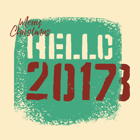 Typographic vintage grunge style Christmas card or poster design. Retro vector illustration. Фото со стока - 88077727