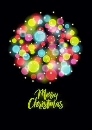 Buon Natale 118.Buon Natale Cartolina Di Natale Stile Vintage O Poster Con Cerchi Colorati Sfocate Illustrazione Vettoriale Retro