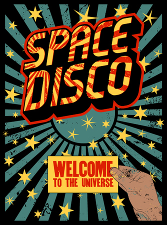Typographic vintage Space Disco Party poster design. Retro vector illustration.