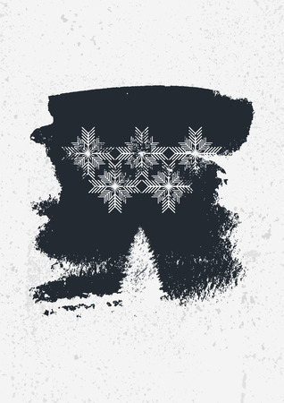 Winter abstract typographic vintage style grunge illustration.