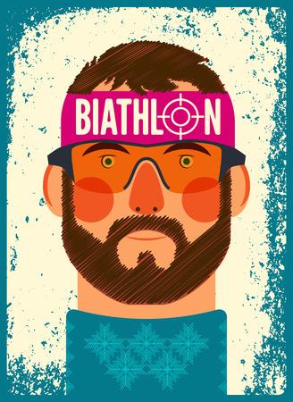 Biathlon typographical vintage grunge style poster. Vettoriali
