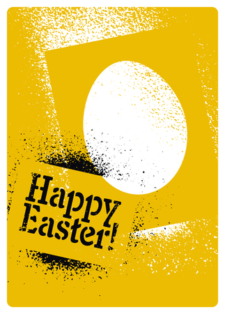 Happy Easter! Typographic stencil street art style grunge Easter greeting card. Retro vector illustration.