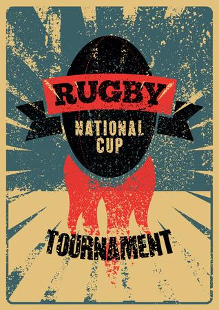 Rugby typografische vintage grunge stijl poster. Retro vector illustratie. Stock Illustratie