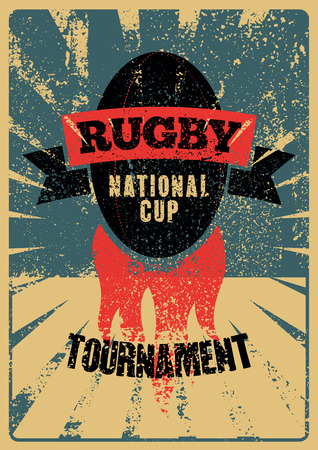Rugby typographical vintage grunge style poster. Retro vector illustration. Иллюстрация