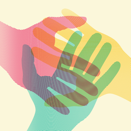 Overlapping colorful hands concept poster. Vector illustration. Banco de Imagens - 95825650
