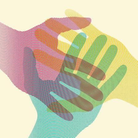 Cartel de concepto de manos coloridas superpuestas. Ilustración vectorial