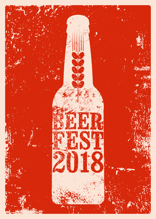 Beer Fest 2018 typographical vintage style grunge poster vector illustration  イラスト・ベクター素材