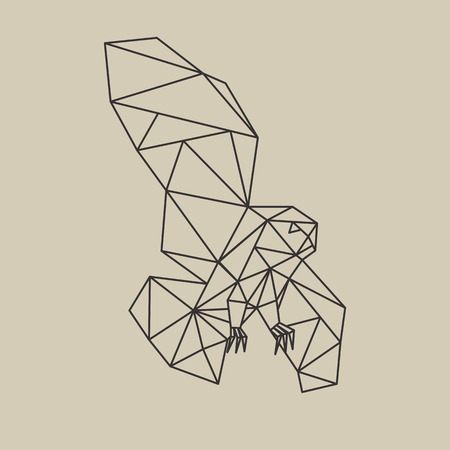 Origami poligonal line style flying owl. Vector illustration. Иллюстрация