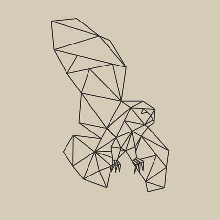 Origami poligonal line style flying owl. Vector illustration. Illustration