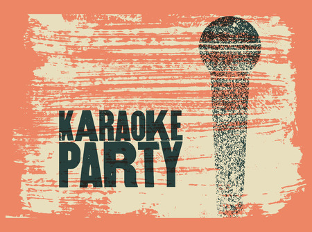 Karaoke Party typographic vintage grunge poster. Retro vector illustration.