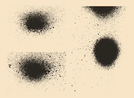 Vector set of splash stains textures. Monochrome abstract vector grunge textures. Illustration