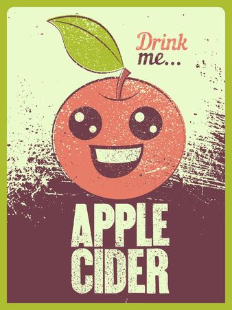 Apple Cider typographical vintage grunge style poster. Retro vector illustration.
