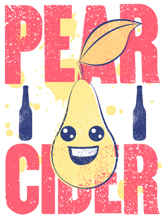Pear Cider typographical vintage grunge style poster. Retro vector illustration. Иллюстрация