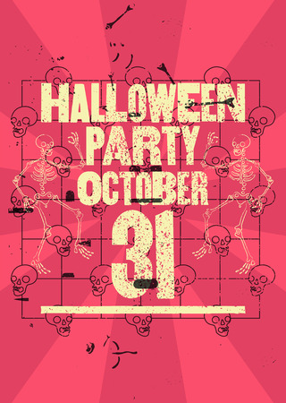 Halloween Party typographical vintage grunge style poster. Retro vector illustration.