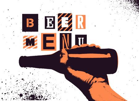 Beer menu typographical vintage style grunge poster design. The hand holds a bottle of beer. Retro vector illustration.