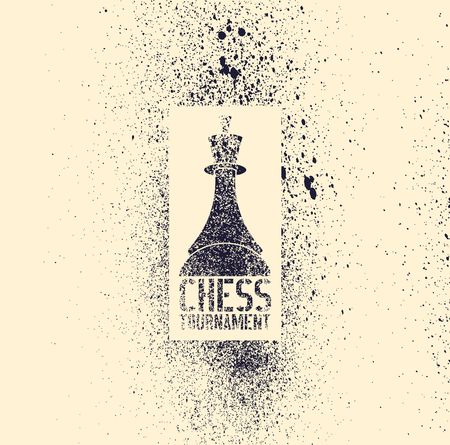 Chess tournament typographical vintage grunge stencil spray grunge style poster. Retro vector illustration.