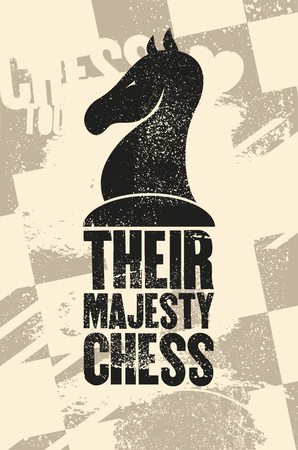 Chess typographical vintage grunge style poster. Retro vector illustration.