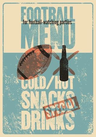 Football menu typographic vintage grunge style poster. Retro vector illustration. Vector Illustratie