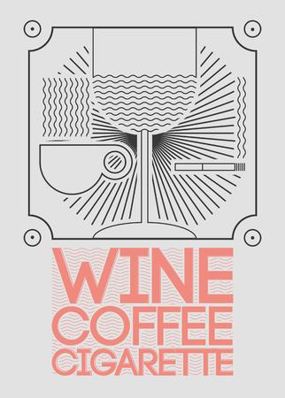 Wine, coffee, cigarette. Lounge Bar Menu Vector illustration. Stock Illustratie