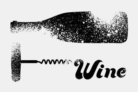 Wine typographical vintage grunge stencil splash style poster design. Retro vector illustration. Çizim