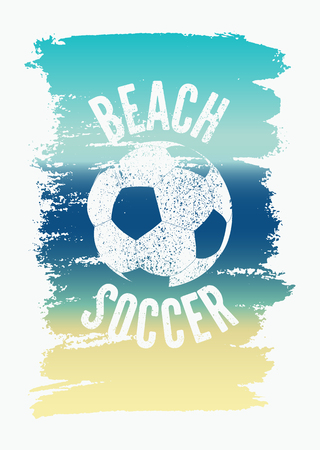 Beach Soccer Typographical Vintage Grunge Style Poster. Retro vector illustration.