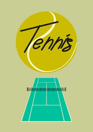 Cartel de estilo vintage tipográfico de tenis. Ilustración de vector retro.