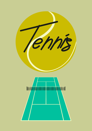 Tennis typographical vintage style poster. Retro vector illustration. Illustration