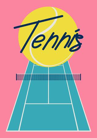 Tennis typographical vintage style poster. Retro vector illustration. 矢量图像