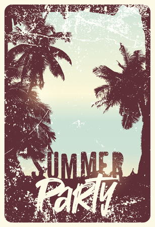 Summer Party typographic grunge vintage poster design. Retro vector illustration. Illustration
