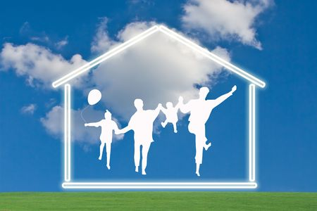 keys to heaven: House with family silhouette