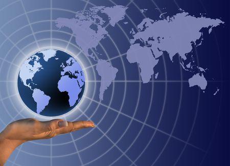 Globe on human hand Stock Photo - 6146755