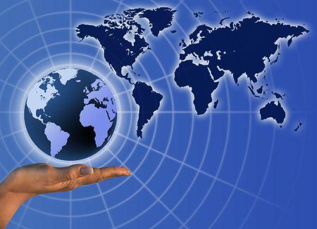 Globe on human hand. Communication concept illustration. Stock Illustration - 6300392