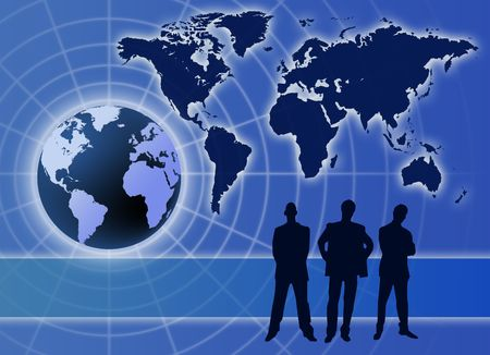 Global business communication concept  with  men silhouette