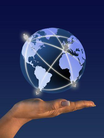 Globe on human hand. Communication concept illustration. illustration