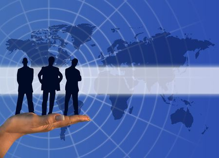 online internet presence: Global business communication concept  with  men silhouette