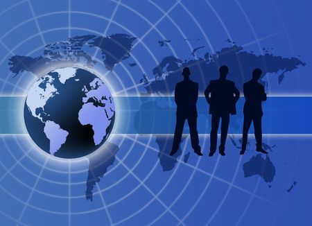 Global business communication concept  with  men silhouette photo