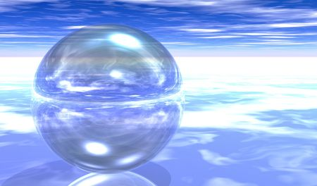 Transparent Glass Sphere on clouds  plane Stock Photo - 6574973
