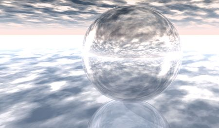 Transparent Glass Sphere on clouds  plane Stock Photo - 6574974