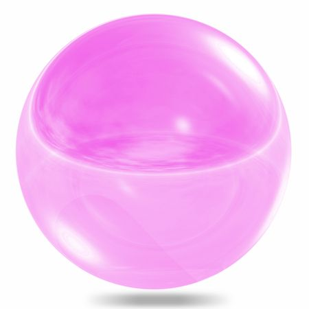 Violet glass sphere isolated on white background photo