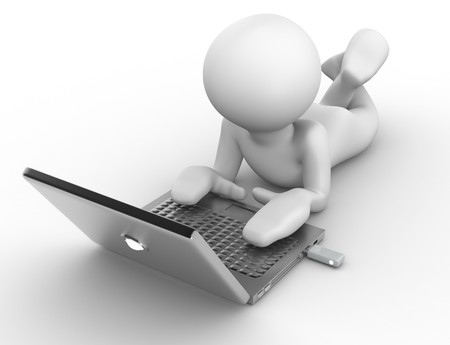 3D human that work with silvered laptop Stock Photo - 7402798
